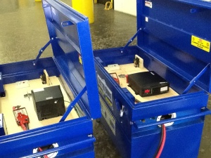 The larger battery system with the Trimetric 2025 meters installed