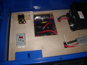 One of the battery banks with the TRIMETRIC 2025 battery meter installed.
